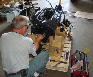 New engine being prepared for installation